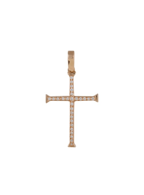 Σταυρός σε ροζ χρυσό Κ18 με...